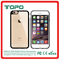 Mixed color TPU frame Transparent back hard pc mobile phone case for iphone 6 6s plus