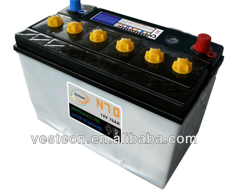 dry cell automotive/car/truck battery N70 70AH
