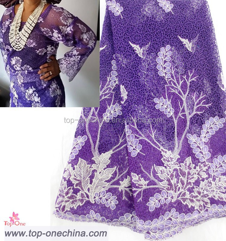 Purple beaded sequins guipure lace cord chemical embriodery lace fabrics