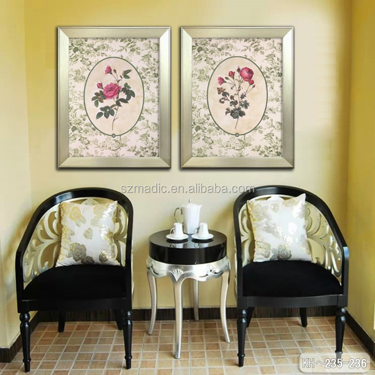 Classical Room Wall Decoration 2 Panel Canvas Painting Patterns Framed Art Pictures Red Rose Flower