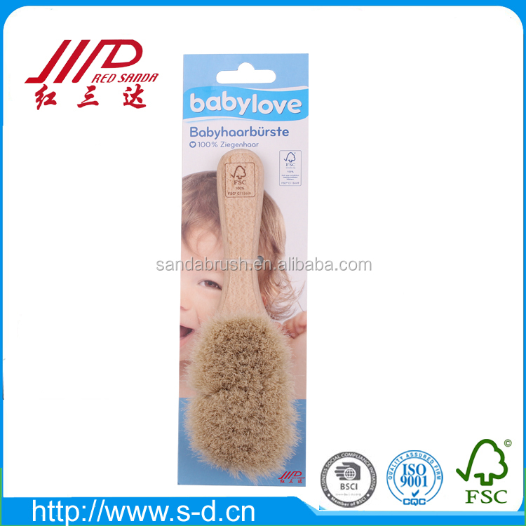 FSC beech wood baby hair brush soft goats hair bristle comfortable baby comb