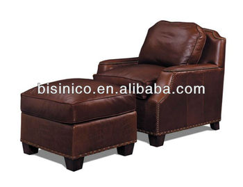 Genuine Leather Sofa Bed With Br Nails Home Living Room Furniture New Design