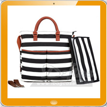 Diaper Bag - Baby Changing Pad - Black /White Stripe / Cute Tan Trim