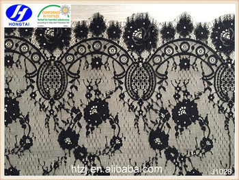 Hongtai 2017 Black nylon Embroidered Cross Floral eyelash lace trim fabric