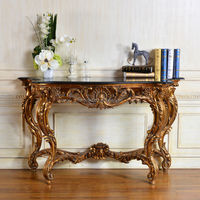 C219 Living Room Antique Gold Corner Console Table