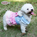 Cat Dog Bridal Wedding Dress Small Dog Checked Design Tutu Skirt pet clothes