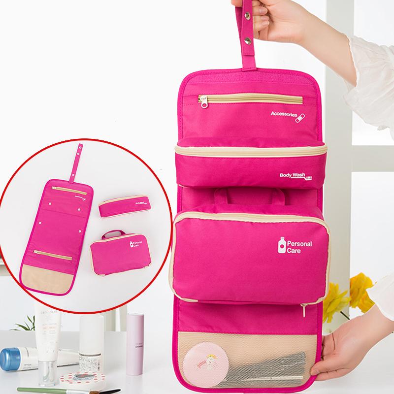 hanging waterproof travel toiletry wash makeup storage cosmetic organizer makeup bag polyester foldable travel toiletry bag