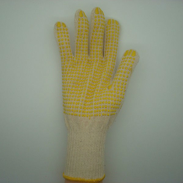 Boxi-High quality 10G raw white 100% cotton gloves with yellow pvc dots on palm