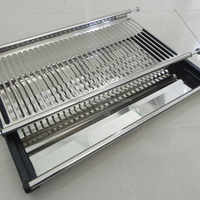Kitchen dish drainer 2 tiers rack stainless steel kitchen cabinet dish drying racks mold in one dish rack