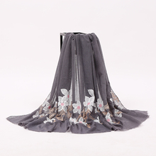 Cheap Wholesale Women Cotton Embroidered Flower Plain Scarf