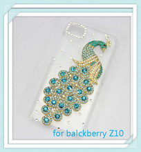 For blackberry Z10 bling 3D clear case light blue peacock diamond rhinestone crystal hard cover