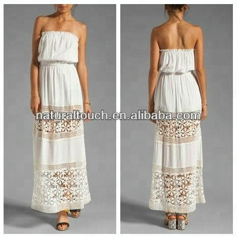 Latest fashion strapless long Maxi Dress with sheer lace panels