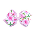 Popular Fashion Print Flowers Hair Bows For Girls