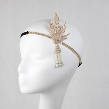 Art Deco 1920's Flapper Great Gatsby Inspired Leaf Medallion Hair Headpiece Crystal <strong>Headband</strong>