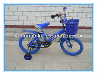 Full blue color with bell plastic basket four wheel baby boy bmx cycle bike for sale cheap for 4-8 years old child