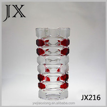 Straight hand painted red colored lead crystal glass vases