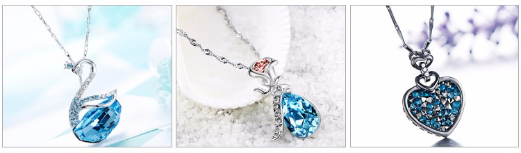 925 Sterling Silver Jewelry Women Crystal fashion Necklace