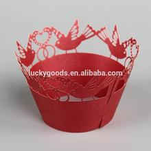 bird design red laser cut cupcake wrappers for sale