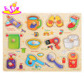 New hottest preschool early learning daily necessities wooden peg shape puzzle toys for age 1 2 3 year olds W14M110