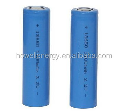 UL UN38.3 approved lifepo4 18650 3.2v 1100mah rechargable lithium battery