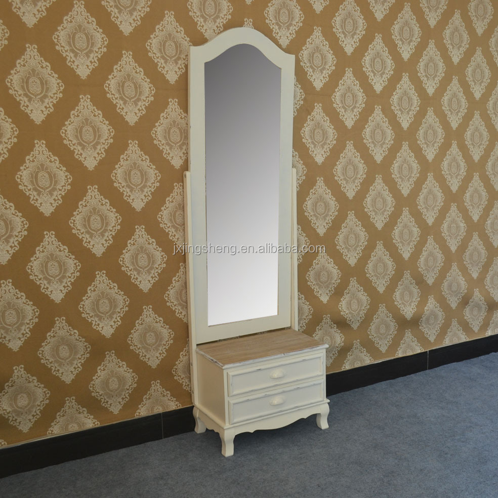 Bedroom Furniture Antique White Soild Wood Dressing Mirrored Jewelry Cabinet