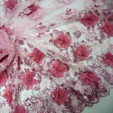 2016 Fushia pink handwork 3D Rose embroidery tulle lace fabric african french net lace HY0408