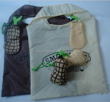 custom reusable peanut polyester foldable shopping bag