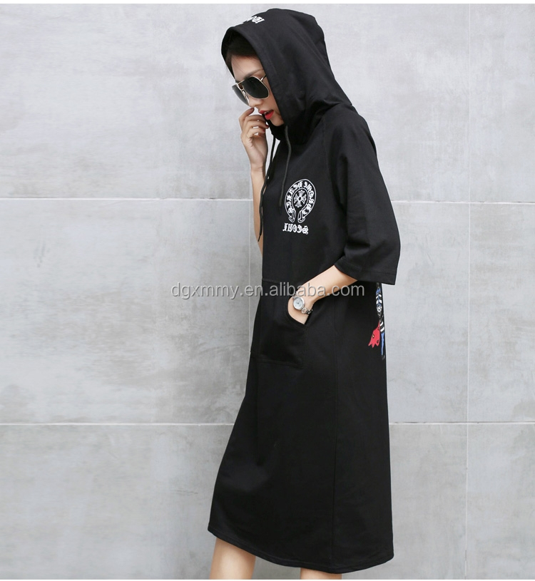 Summer Cotton Woman Dress New Style Pullover Hooded Funny Cartoon Printed T-shirt Dress Plus Size Women Clothing