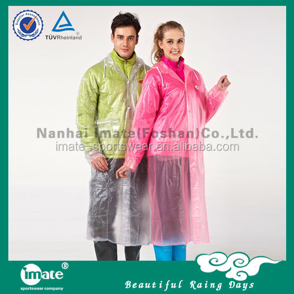 Contemporary waterproof pe disposable rain poncho