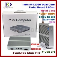 Fanless Industrial VGA Mini PC with Dual RS232 4GB RAM 128GB SSD Desktop Computer Intel i5-4200U CPU with wifi and HD-MI