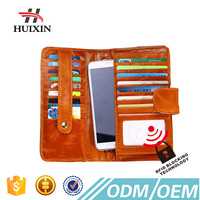 Excellect handcraft zipper business men's long wallet for many card slots