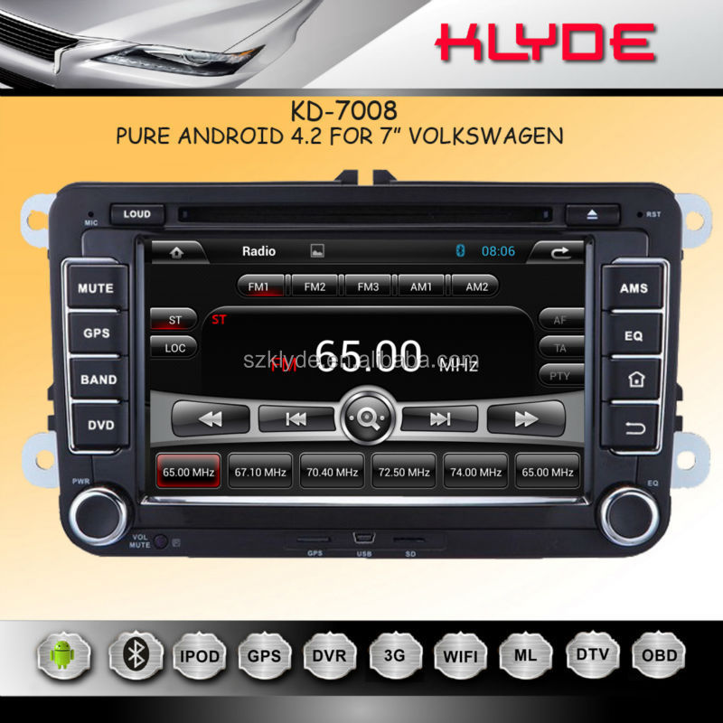 "KLYDE 7"" Android 4.2.2 for vw golf 5 car radio gps with Mirror Link Capacitive Touch Screen Multipoint support OBD2"