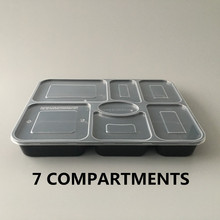 7 compartments Takeaway Lunch Box Takeout food grade flat lid retail box packaging transparent round plastic salad bowl