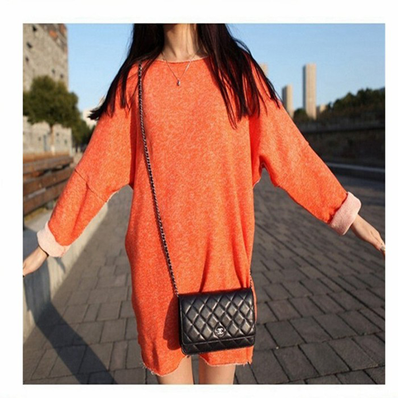 Latest Fashion Casual Loose Long Sleeve 100% Cotton Blank T-shirt Dress