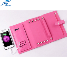 new design leather jewelry wallet with power bank