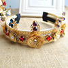 baroque pearl gold plated hair jewelry, flower crown headband(SWTJU462)