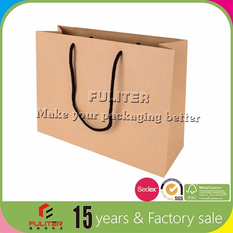 Organic kraft paper bags with handles wholesale