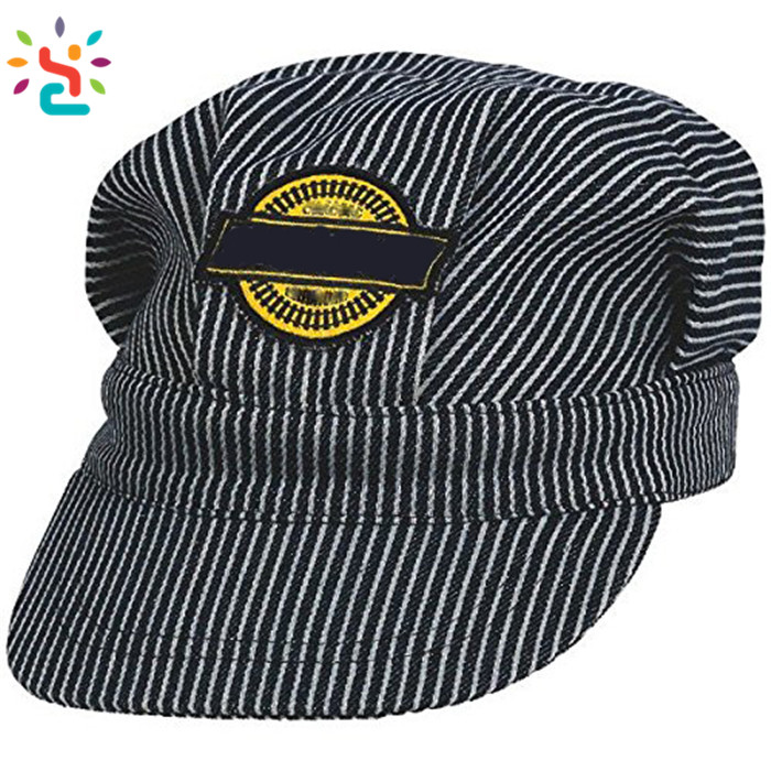 Custom embroidery label child engineer hat Striped cap fashion party Little Engineer Hat 100% cotton daddy hat