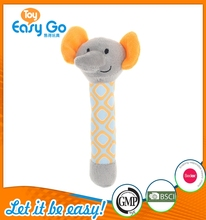 factory direct sale grey elephant with yellow ear wrist rattle
