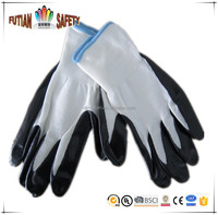 FTSAFETY 13G white nylon liner with grey nitrile coating safety working gloves
