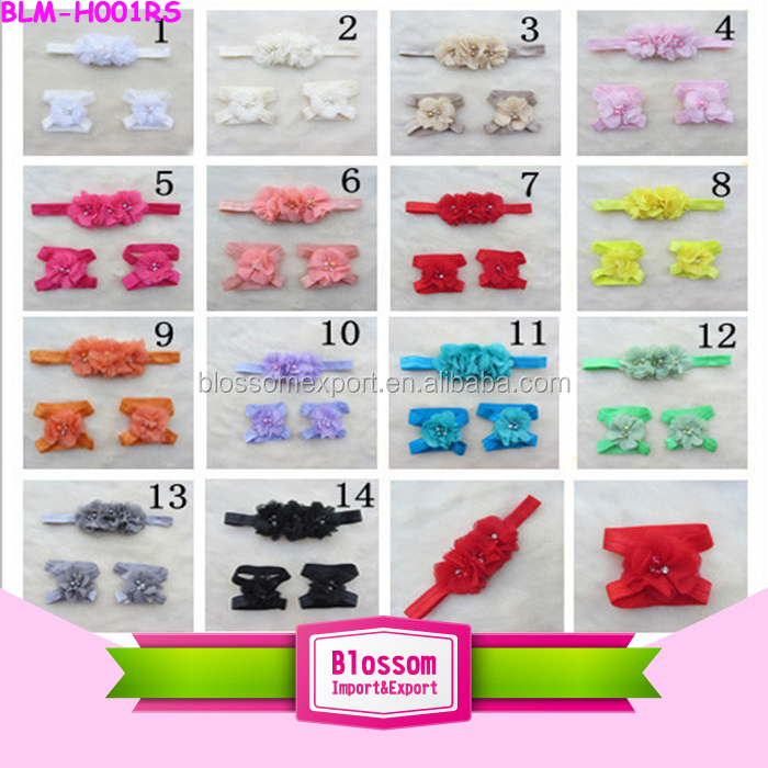 Wholesale Kids Girl Headband Flower Toddler Orange Lace Stretch Fabric Pearl Flower Elastic Hair Headband Fashion Accessories