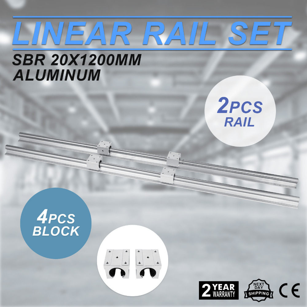 2 Set SBR20-1200mm 20mm Fully Supported Linear <strong>Rail</strong> Shaft Rod With 4 SBR20UU