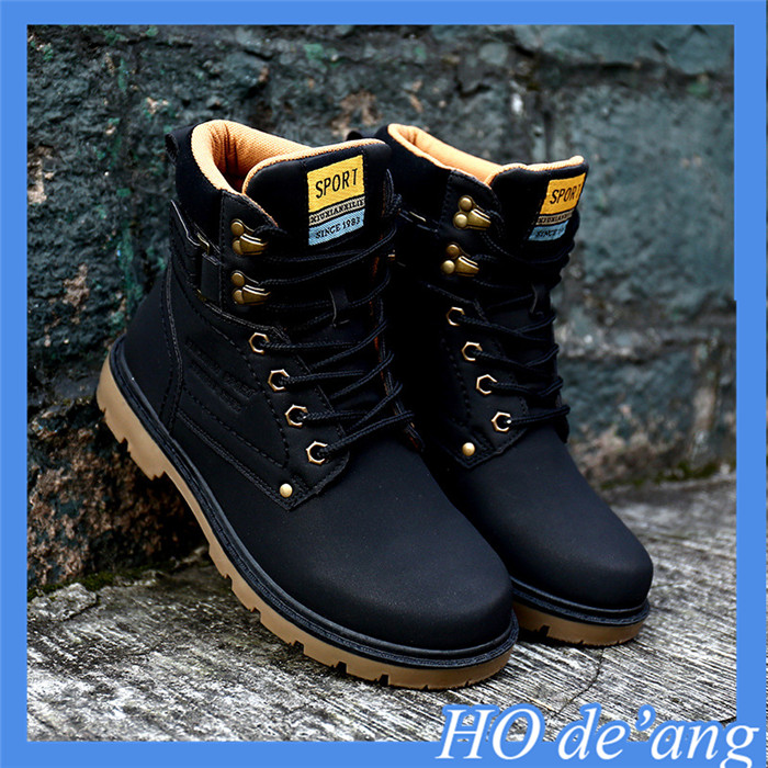 2017 new winter warm casual boots male British fashion high-top PU leather men's boots MHo-113