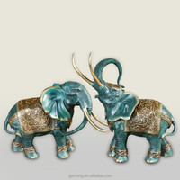 Luck animal statue 2 elephant statue bronze sculpture for decoration