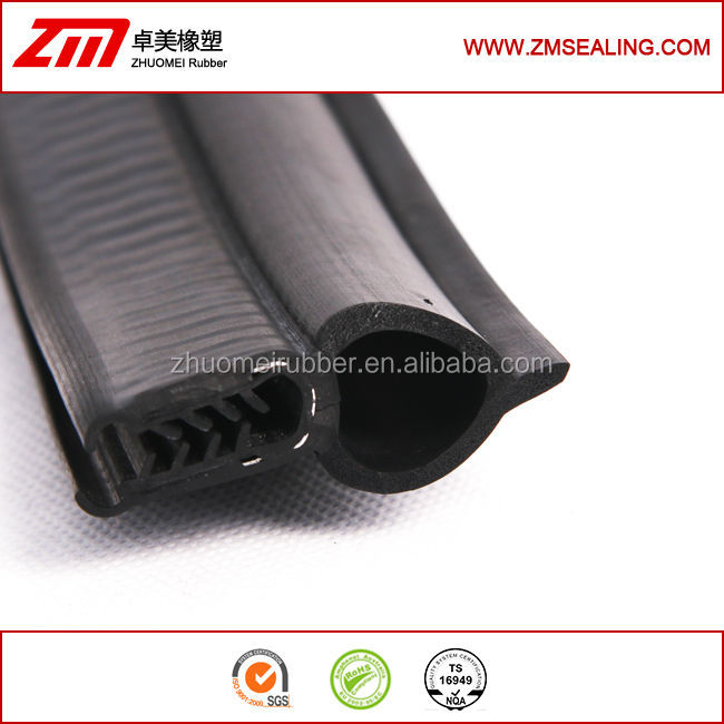 metal insert co-extruded rubber trim, rubber strip