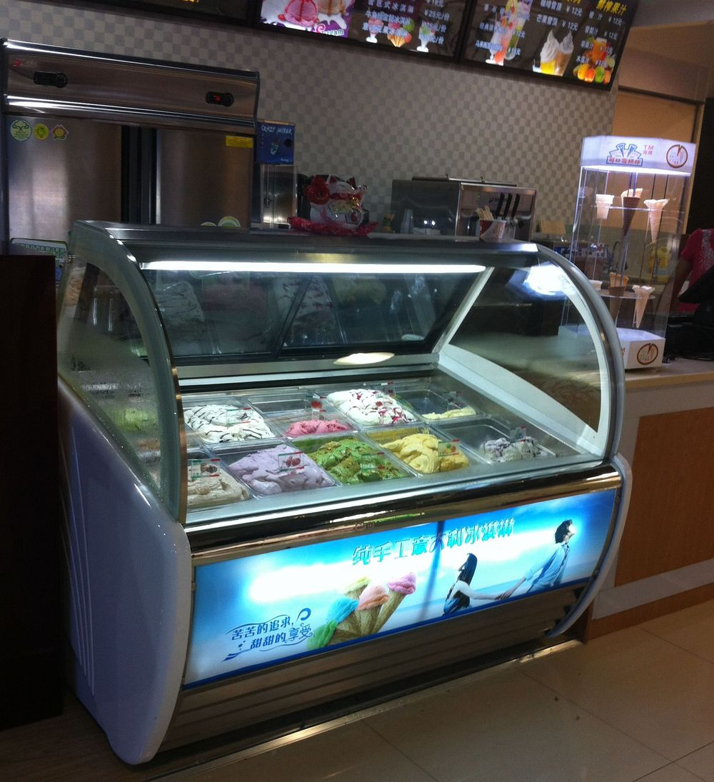 Fan Cooling Freezer Showcase Gelato Display Freezer Ice