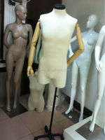 torso dress form mannequin with wooden arms, adjustable tailor mannequin