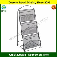 2015 New 3 Shelf Magazine Floor Display , Wire Newspaper Display Racks