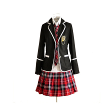 Women High School Plaid Uniform Sailor Suit Mini Skirt Costume Set