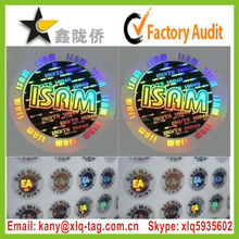 2015 Custom Part Transparent Demetalized Hologram Sticker for Christmas